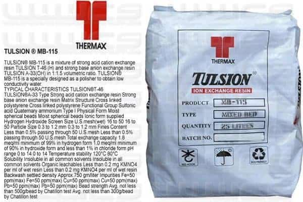 1000 LITRES TULSION VIRGIN MIXED BED RESIN